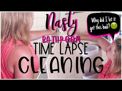 TIME LAPSE CLEANING | CLEANING MOTIVATION | EXTREMELY MESSY BATHROOM TRANSFORMATION  | CLEAN WITH ME