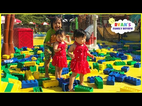 GIANT LEGO at LegoLand Discovery Kids Indoor Playground with Ryan's Family Review