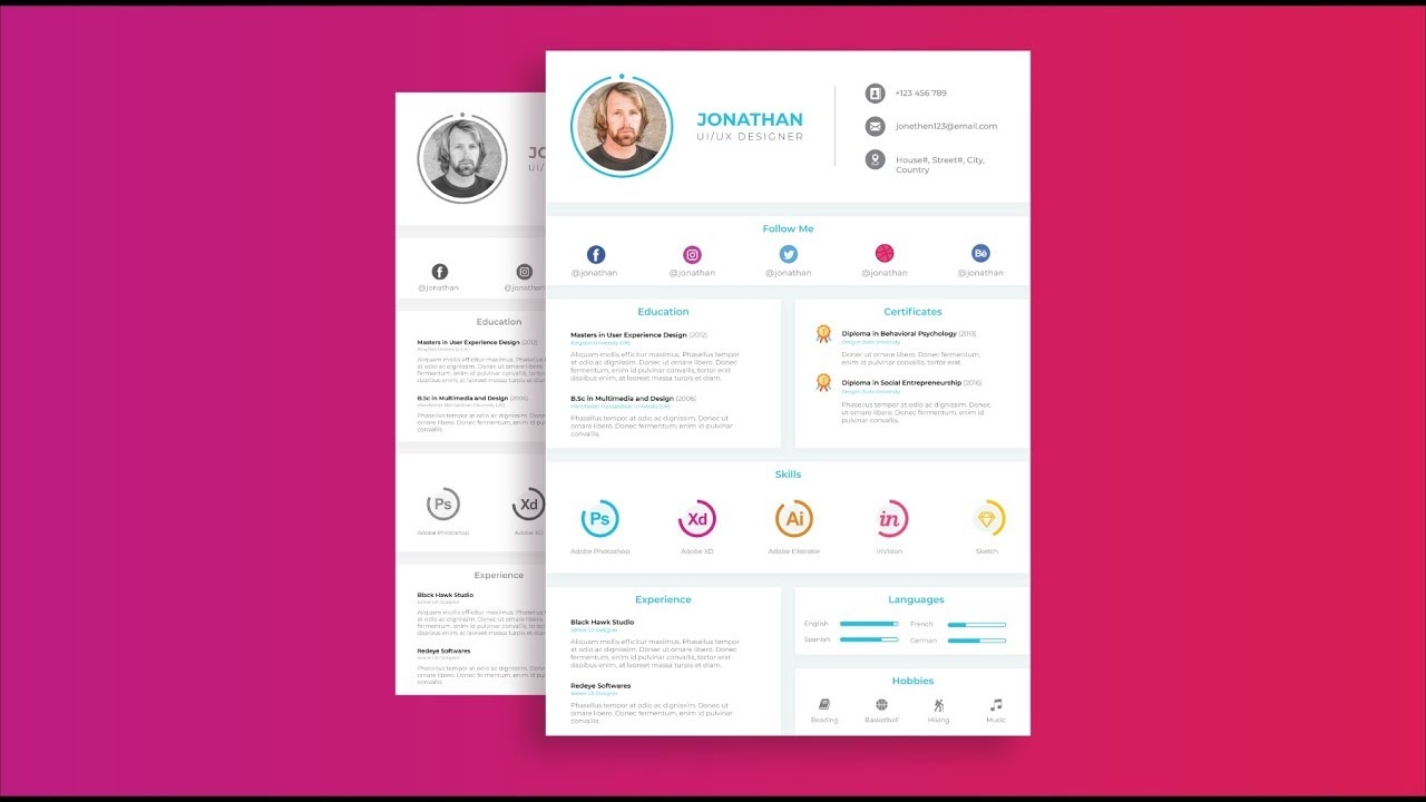 Ui Ux Designer S Resume Design Tutorial In Adobe Illustrator Cc Simple Version Youtube