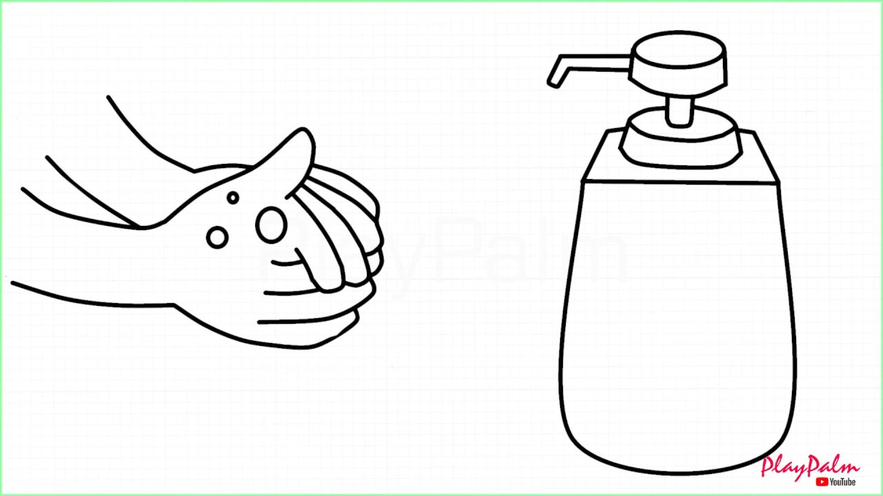 How To Draw Handwash Wash Your Hands With Liquid Hand Wash Drawing