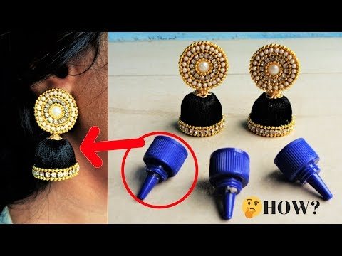 How to make beautiful silk thread earrings at home |Best out of waste