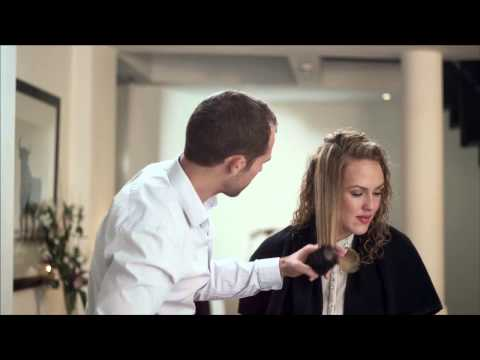 John Frieda Frizz-Ease® transforms naturally curly hair to a sleek, straight style