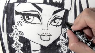 How to draw Cleo de Nile from Monster High step by step