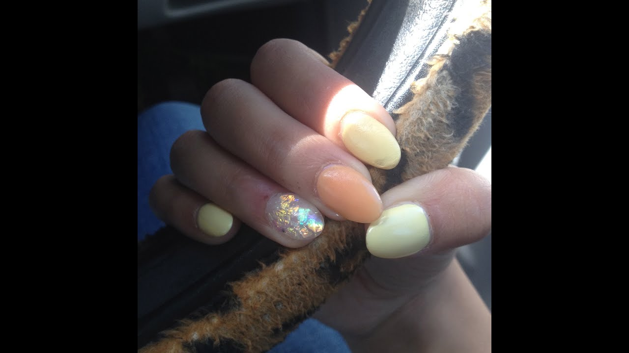 Orange And Yellow Short Almond Nails