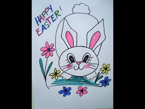 How to draw easter bunny in the flowers cards signs window how to draw easter bunny in the flowers cards signs window decoration youtube ccuart Image collections