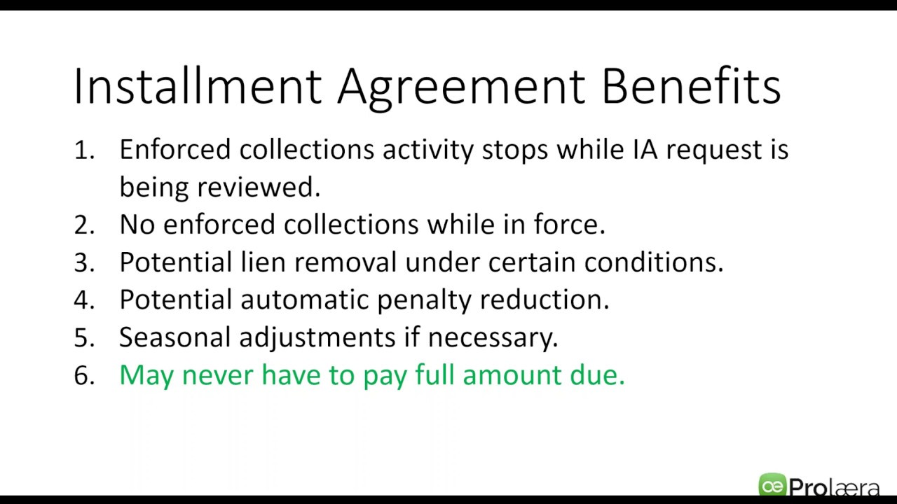 Partial Pay Installment Agreements Youtube