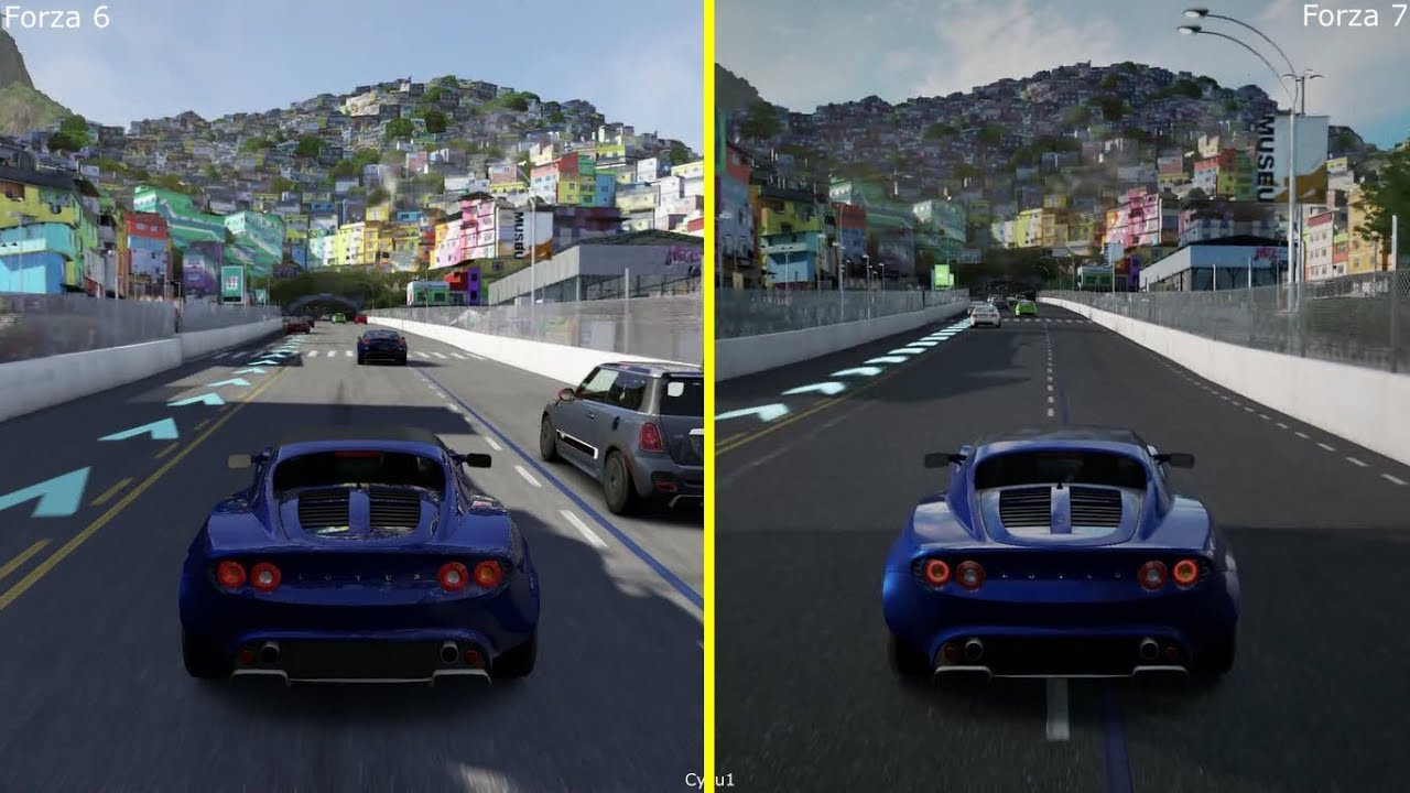 forza 6 vs forza 7 xbox one s graphics comparison lotus elise rio de janeiro day run youtube. Black Bedroom Furniture Sets. Home Design Ideas