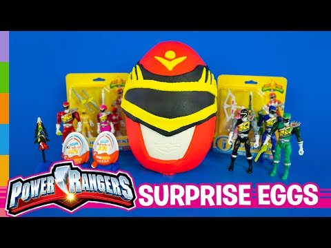Power Rangers Toys ft Play Doh Power Rangers Giant Surprise Egg & Kinder Joy Surprise Eggs by ToyRap