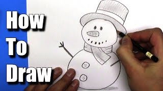 How to draw a EASY Snowman - Step by Step