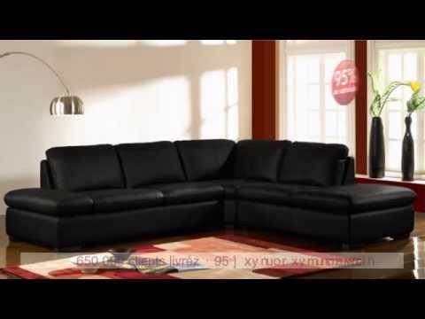 Canap d 39 angle en cuir onyx ii noir ivoire ou chocolat youtube - Canape d angle cuir chocolat ...