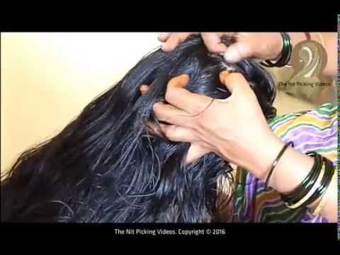 Knee Length Long Hair Lady Heavy Oiling And Nit Picking Video By Her