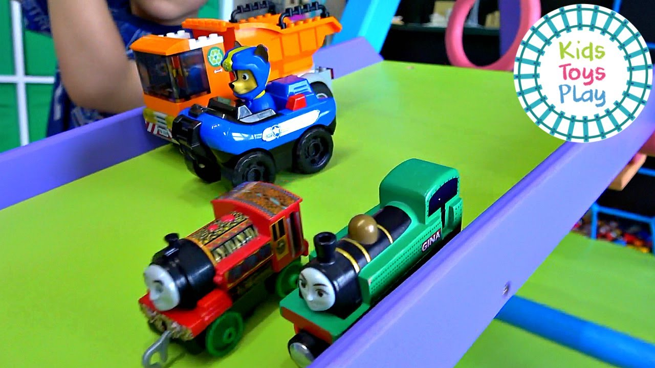 Thomas the Train Vs PAW Patrol Vs LEGO Downhill Race