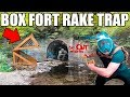 24 HOUR BOX FORT RAKE TRAP!! 😱📦 Scary Abandoned Tunnel Challenge