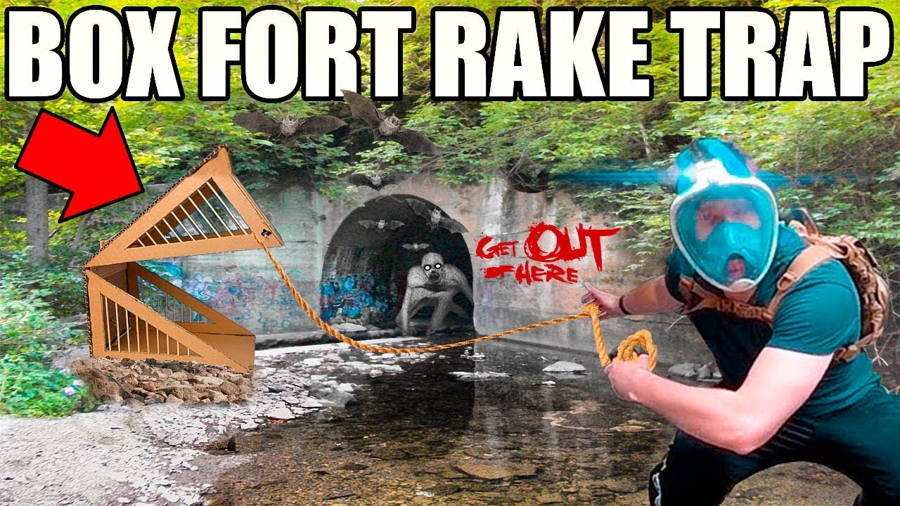 24 Hour Box Fort Rake Trap 😱📦 Scary Abandoned Tunnel