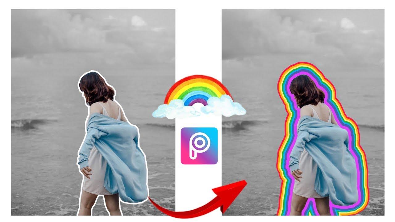 【 PicsArt 】Vẽ Viền Tự Động Bằng PicsArt | Vẽ Viền 7 Sắc Cầu Vồng 🌈🌈