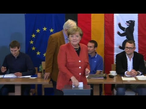 Angela Merkel casts her vote in Germany