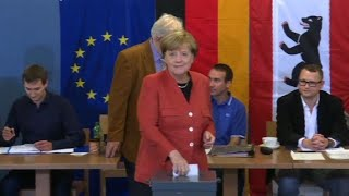 Angela Merkel casts her vote in Germany's general election