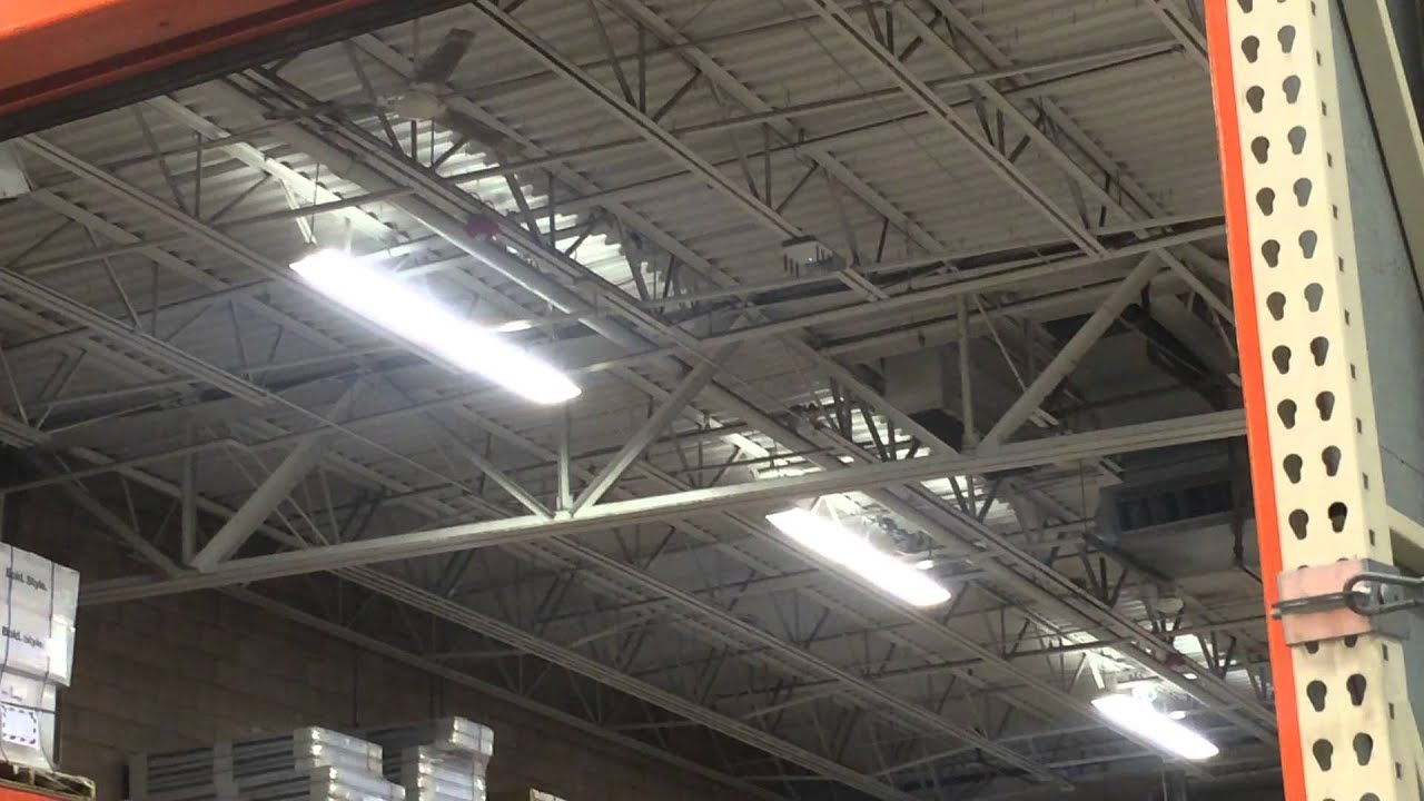 2 Dayton Marley industrial ceiling fans at Home Depot back area