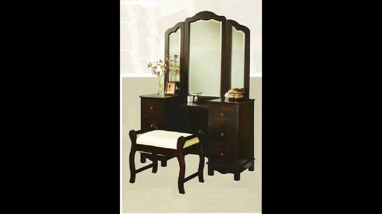 3 Pc Espresso Finish Wood Large Size Bedroom Make Up Vanity Set With Tri    Fold   YouTube