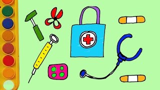 Coloring pages medical instruments and how to draw medical instruments for kids|Jelly toys