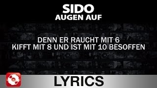 SIDO - AUGEN AUF AGGROTV LYRICS KARAOKE (OFFICIAL VERSION)