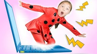 Lili as Ladybug jumped out of the computer