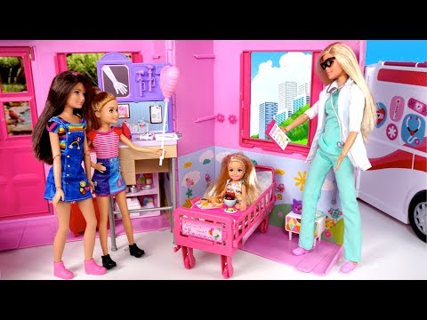Barbie Chelsea Sick Morning Routine - Doll Hospital Room  & Barbie Pediatrician