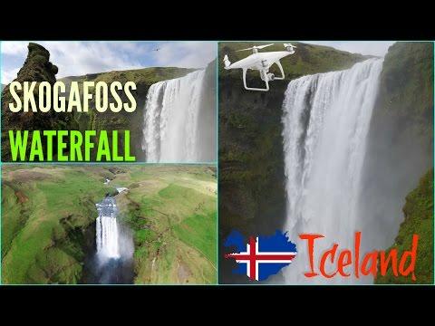 Skogafoss waterfall Iceland drone aerial  / Wodospad Skógafoss widziany z drona