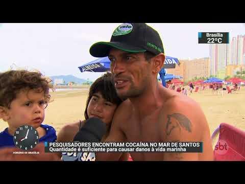 Pesquisadores descobrem cocaína no mar de Santos | SBT Brasil (24/11/17)