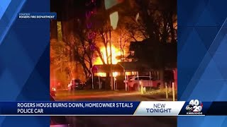 PD: Homeowner steals police car after early morning fire in Rogers