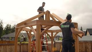 Handcrafted timber frame hexagon pergola
