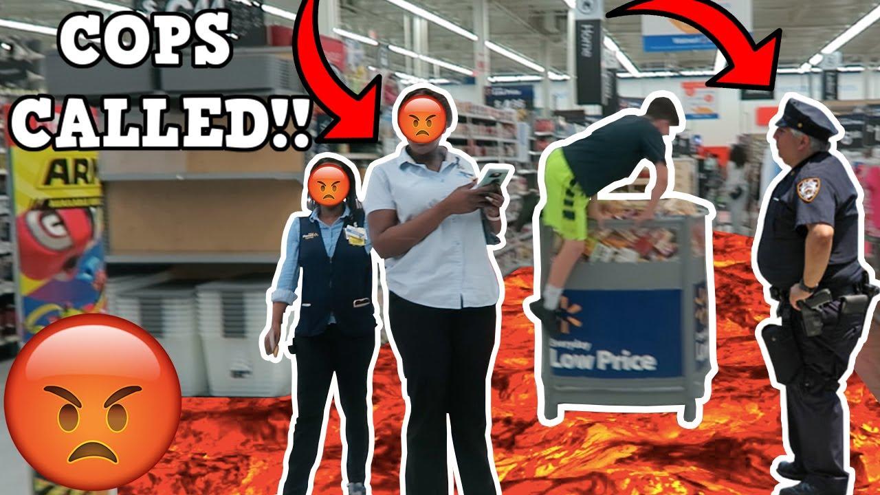 Floor Is Lava Challenge At Walmart Cops Called Youtube