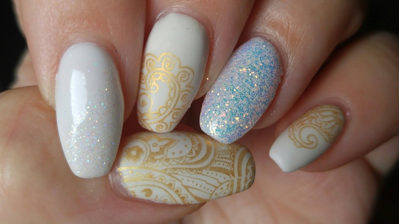 White And Gold Gel Nail Design With Sparkle Youtube