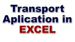 transport application in advanced excel | Advanced excel tutorials in telugu | EXCEL VBA in telugu