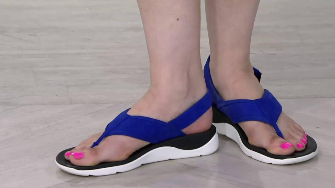 43122b385140 Clarks Artisan Leather Sport Thong Sandals - Caval Kora on QVC - YouTube