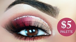 $5 PALETTE | Glitter Cut Crease Makeup Tutorial | Wet n Wild Rosé in the Air