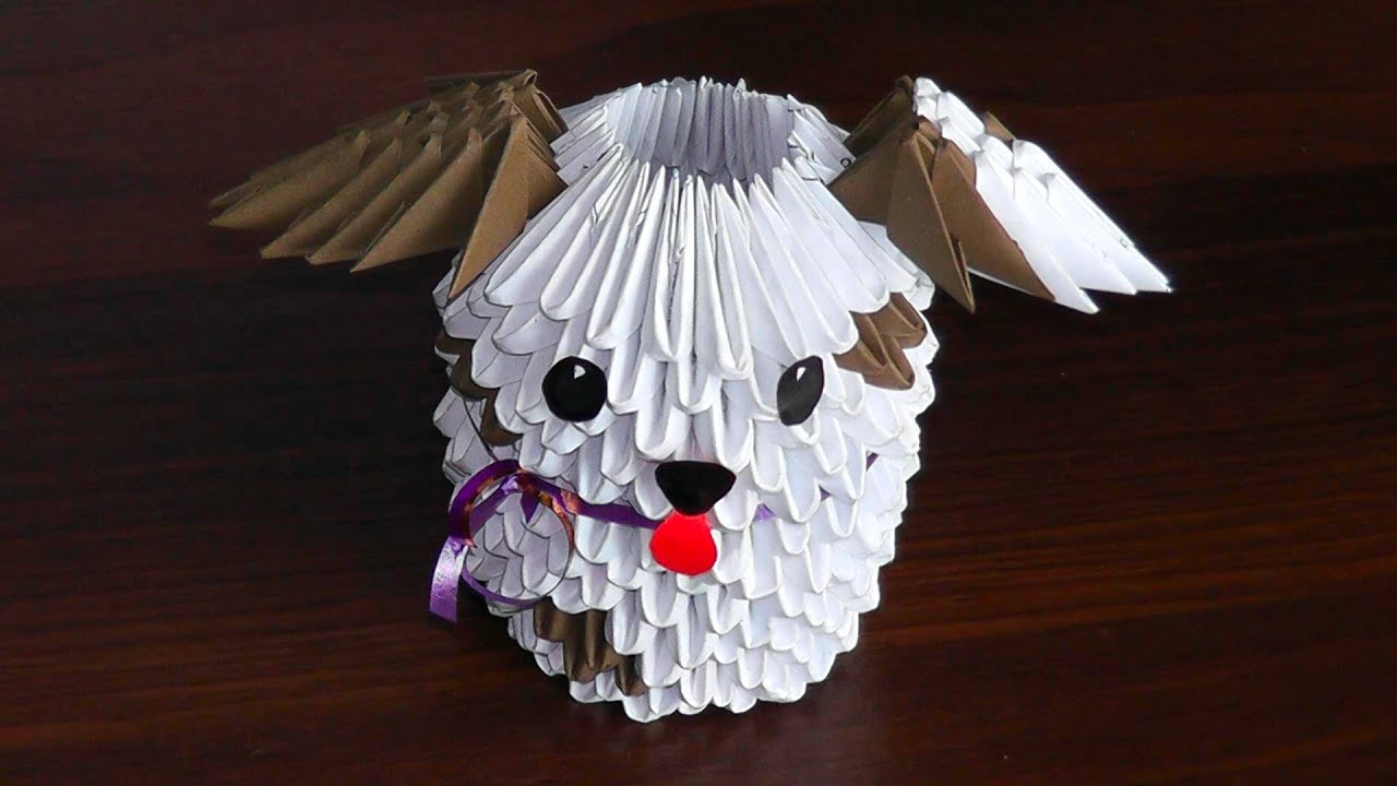 3D Origami Dog Puppy Assembly Diagram Tutorial