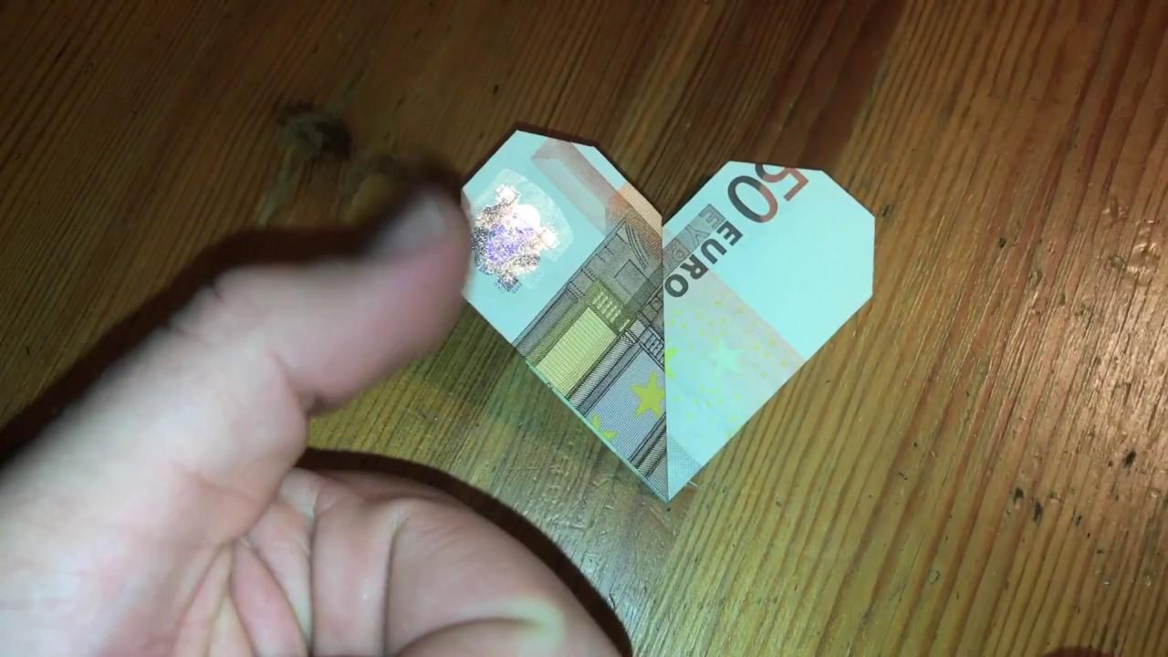 geldgeschenk falten herz aus geld falten origami anleitung. Black Bedroom Furniture Sets. Home Design Ideas