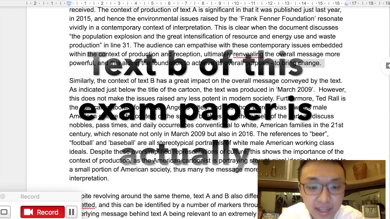 ib english hl comparative essay example