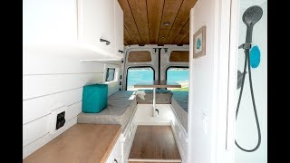 Custom Built Van Conversion with Bathroom, Mini Garage, Convertible Bed Area | VAN TOUR