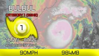 Cyclone Bulbul approaching India - 9am IST November 8