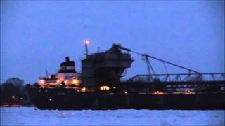 Great Lakes Freighter Algomarine Stuck In Ice, 1.11.2015. Near Algonac