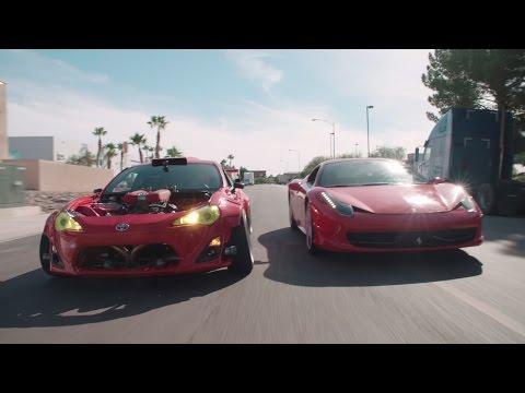 Watch this Lunatic Ferrari-Powered Toyota 86 Do Donuts Around an Actual Ferrari