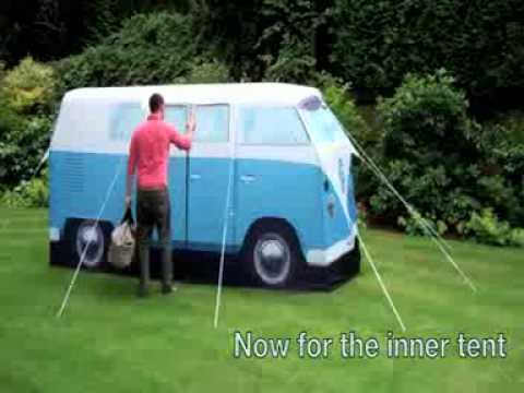VW C&er Van Blue Exact Scale Replica Tent - Putting up the Tent - YouTube & VW Camper Van Blue Exact Scale Replica Tent - Putting up the Tent ...