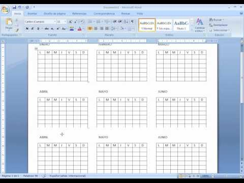 Como Hacer Calendario En Word.Como Hacer Un Calendario En Word 2007 Youtube