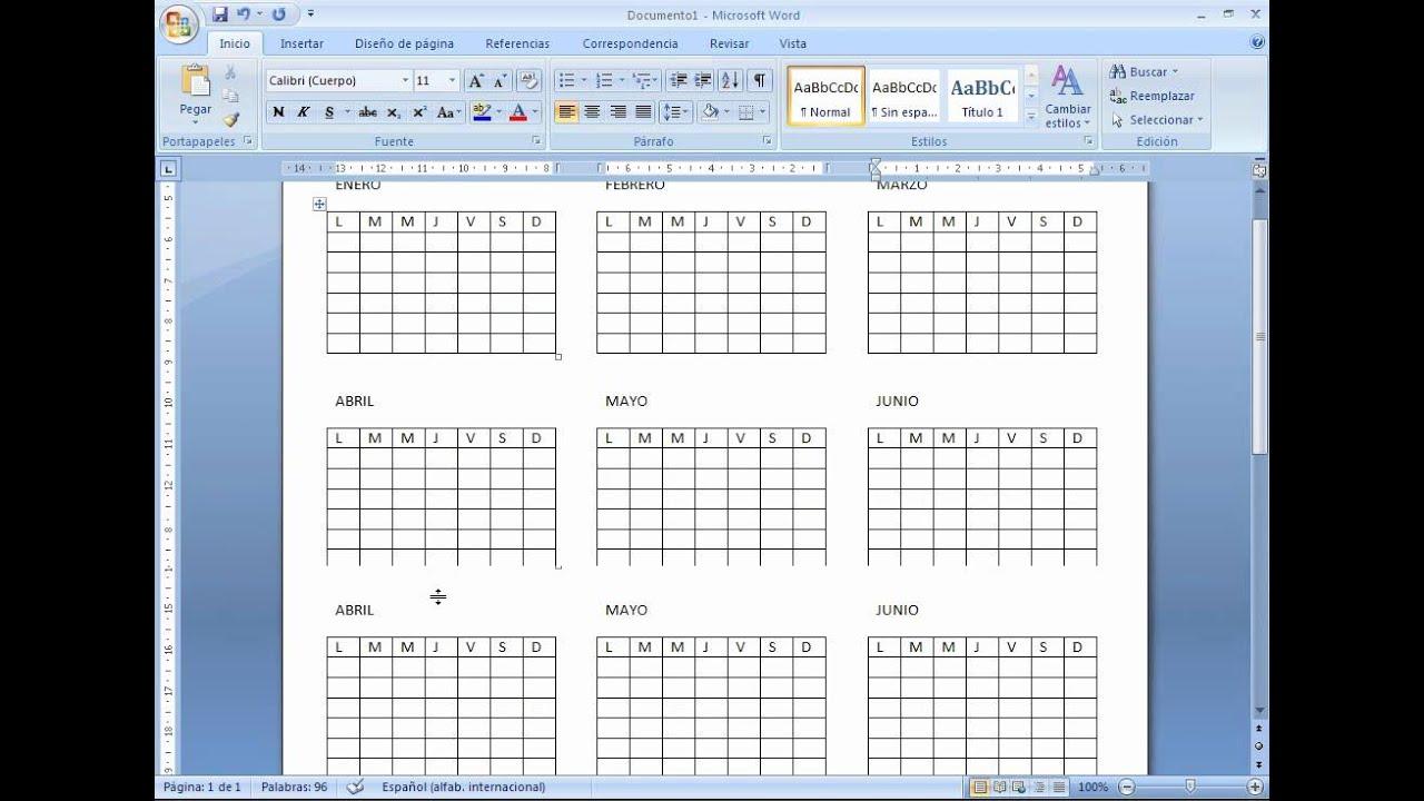 como hacer un calendario en Word 2007 - YouTube
