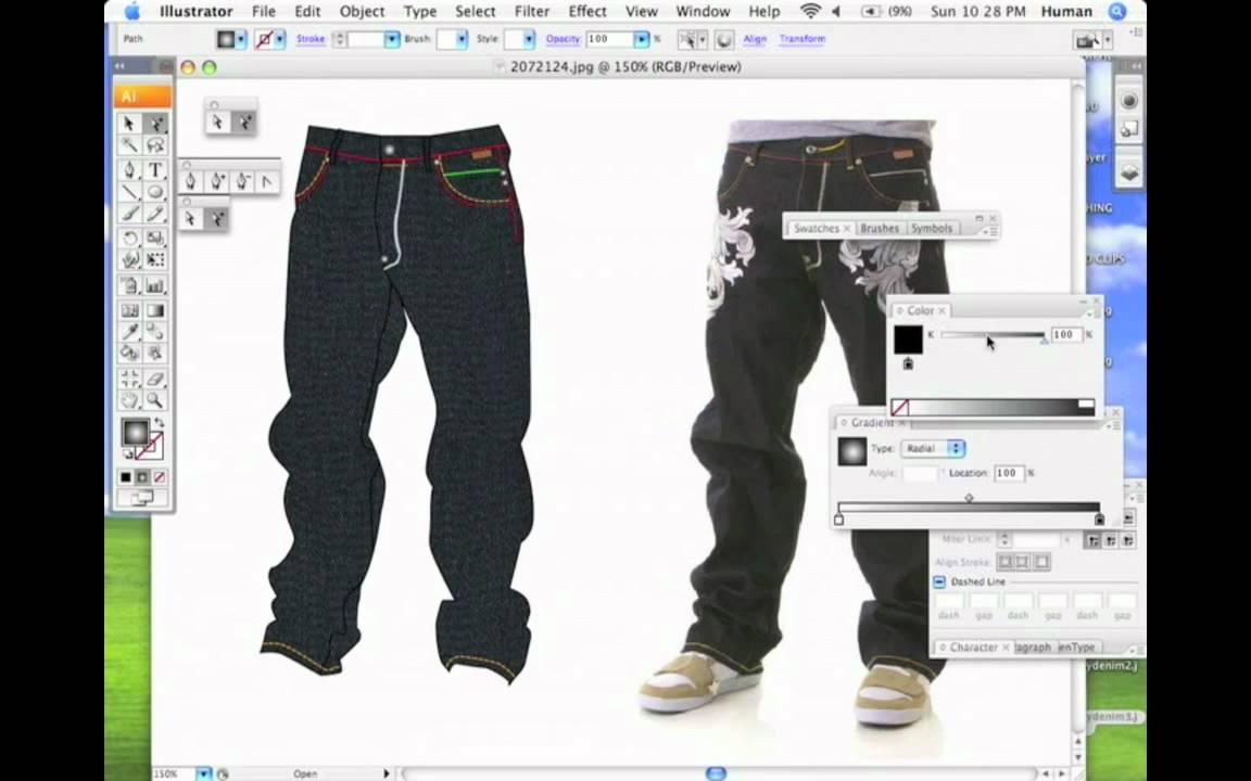 How To Design A Denim Cad In Adobe Illustrator Youtube