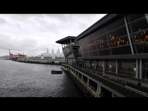 Vancouver Convention Center by the water Canada Place Stock footage 4K UHD Feb 2016