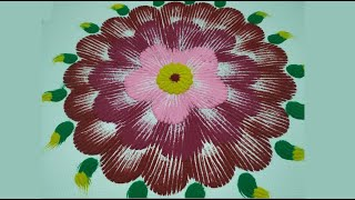 Simple Rangoli design |Colour full kolam using fork spoon