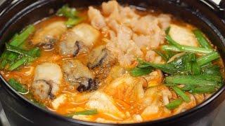 Oyster and Pork Kimchi Nabe (Korean-inspired Hot Pot Recipe) 牡蠣と豚肉のキムチ鍋(韓国風鍋) 作り方 レシピ thumbnail
